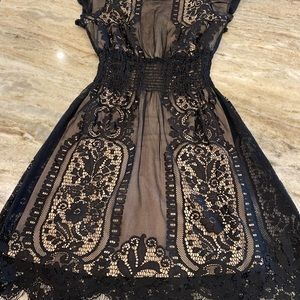 Pinky Black Lace over Nude Stretch Lining